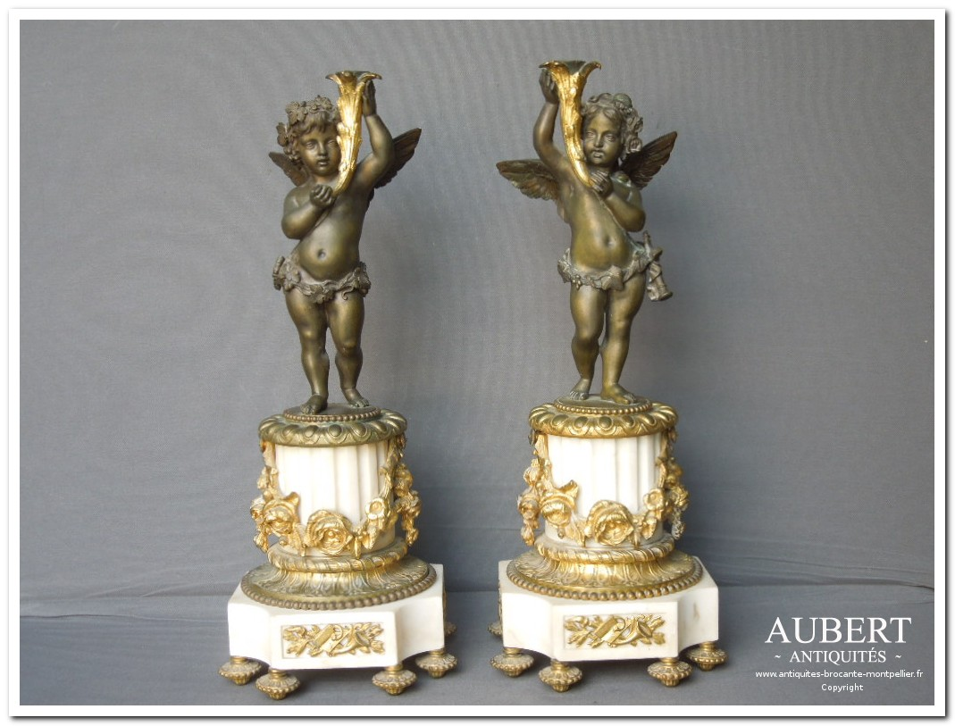 angelots en bronze soclé marbre achat antiquites achat brocante vente antiquites vente brocante antiquaire antiquaires montpellier brocanteur montpellier succession debarras antiquites aubert montpellier fabregues sete beziers gigean