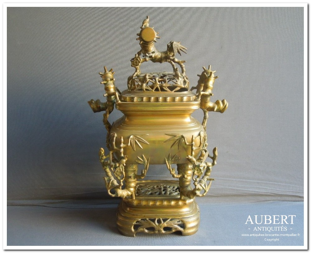 brule parfum en bronze asiatique vietnam chine japon porcelaine decor bambou Antiquaire montpellier, brocanteur montpellier, achat, vente, succession, antiquaire sete, brocanteur sete, debarras, achat bibelots, mobilier interieur  exterieur , design XXéme vintage, instrument de musique , violon, militaria, arme ancienne, tableau, argenterie