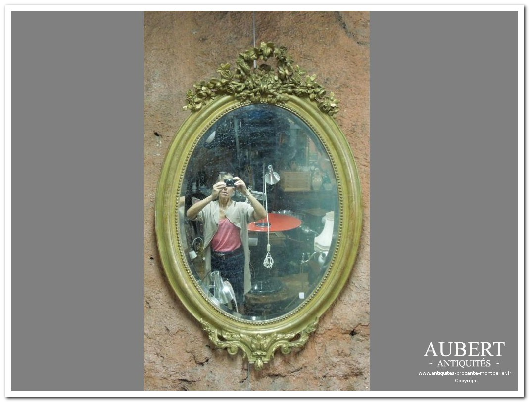 grand miroir ovale napoleon III dore achat antiquites achat brocante vente antiquites vente brocante antiquaire antiquaires montpellier brocanteur montpellier succession debarras antiquites aubert montpellier fabregues sete beziers gigean