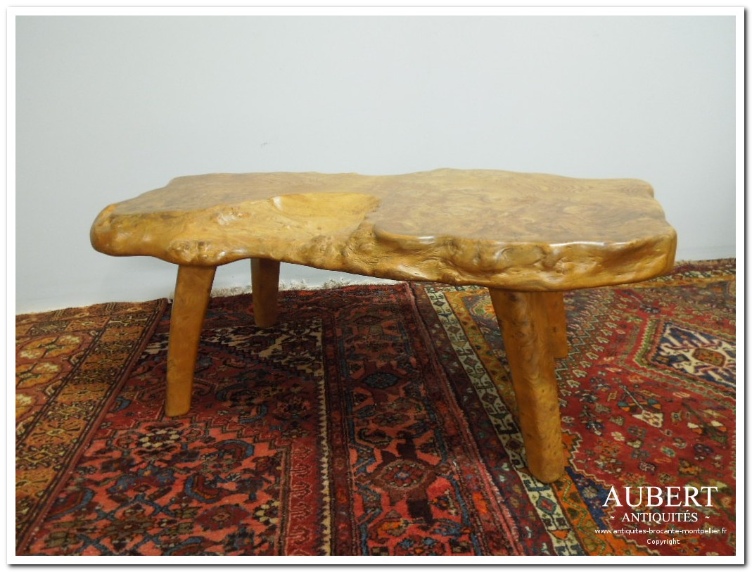 table basse tronc d'arbre vintage 1960 achat antiquites achat brocante vente antiquites vente brocante antiquaire montpellier brocanteur montpellier succession debarras antiquites aubert montpellier fabregues sete beziers gigean