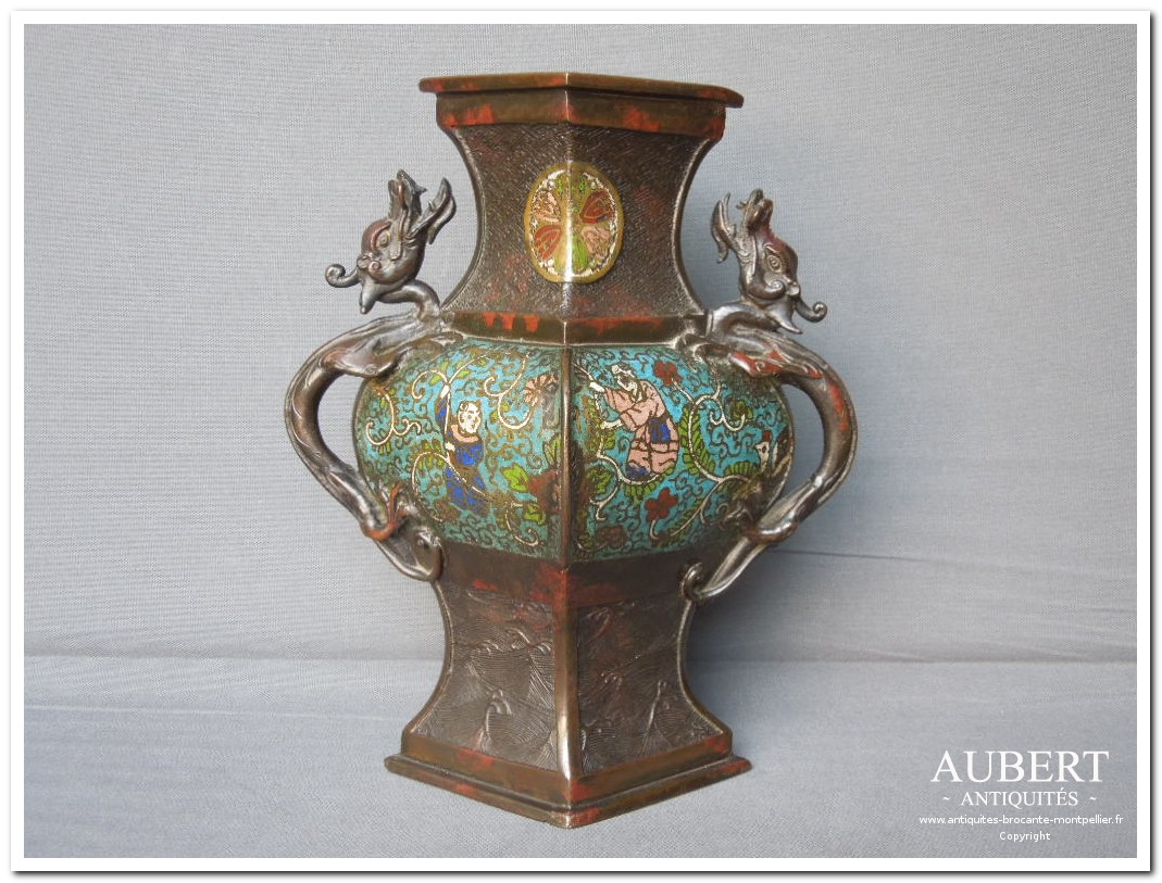 vase asiatique en bronze cloisonné achat antiquites achat brocante vente antiquites vente brocante antiquaire antiquaires montpellier brocanteur montpellier succession debarras antiquites aubert montpellier fabregues sete beziers gigean
