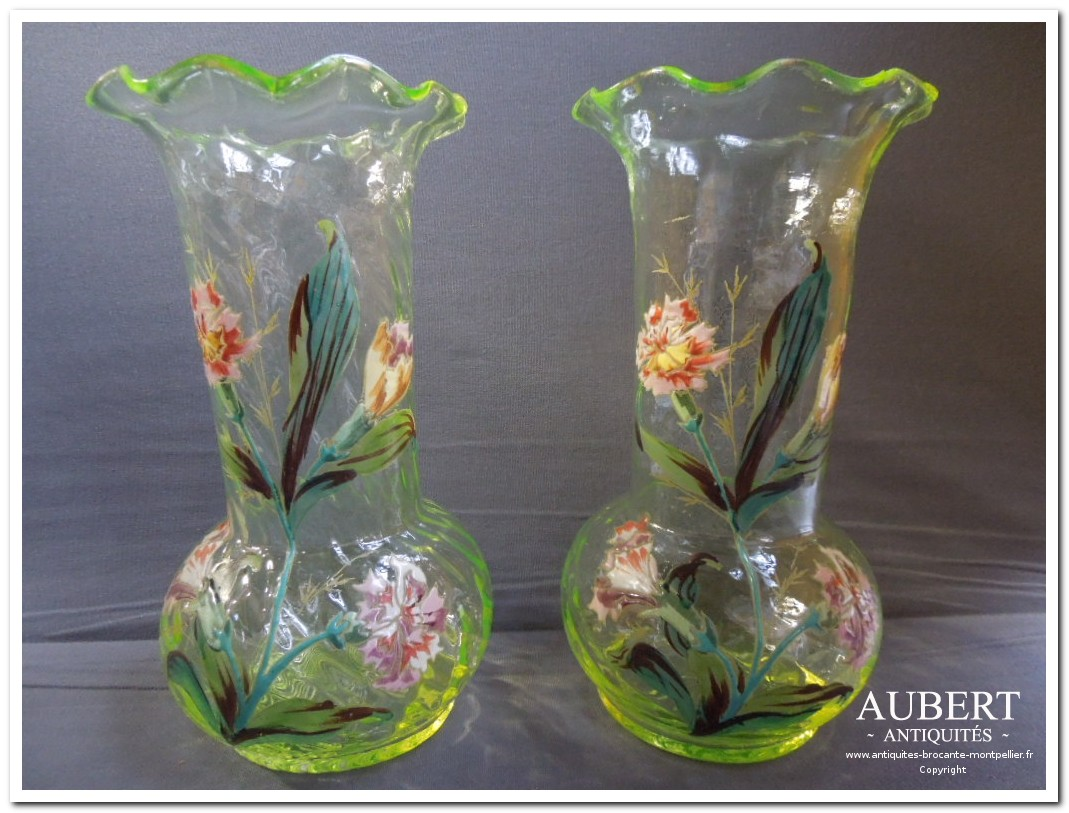 vase 1900 en verre jaune decor emaillé dans le gout de legras motifs fleurs achat antiquites achat brocante vente antiquites vente brocante antiquaire sete antiquaires montpellier brocanteur montpellier brocanteur sete succession debarras antiquites aubert montpellier fabregues sete beziers gigean