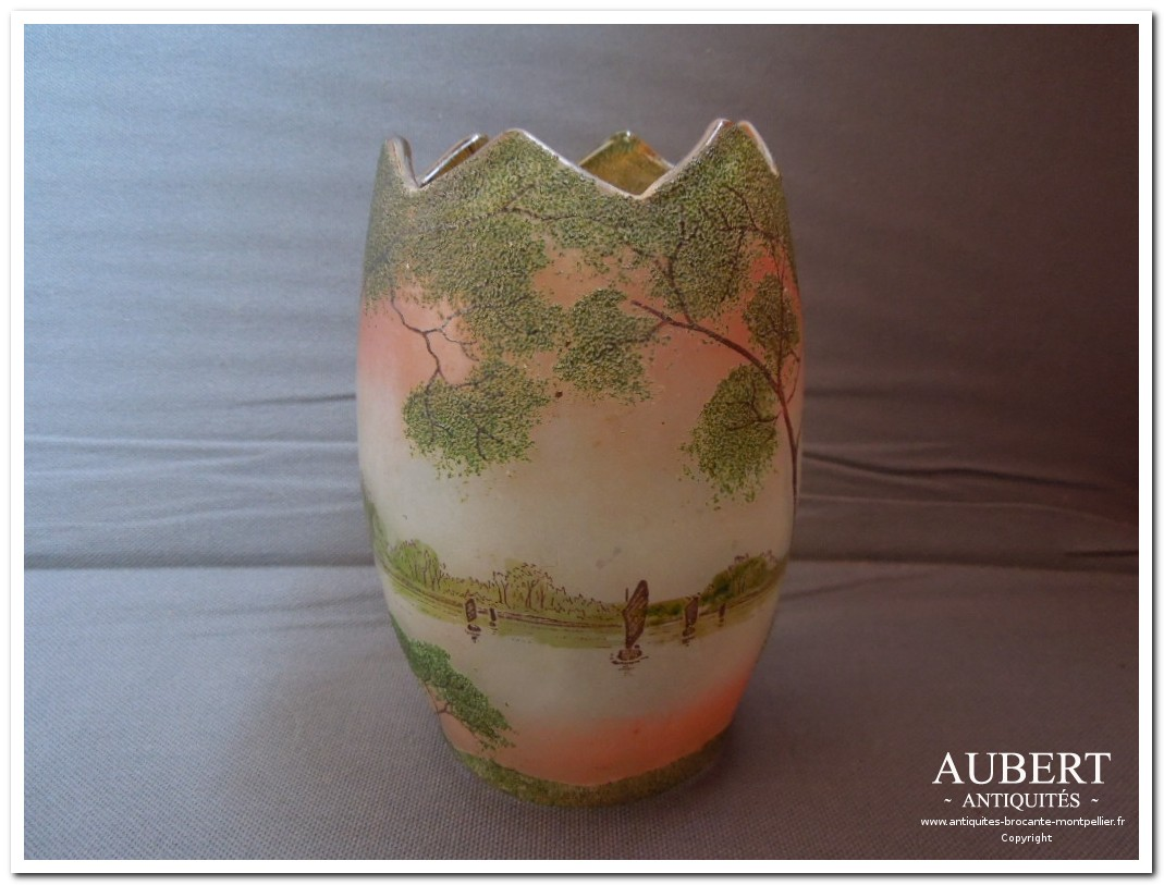 vase emaillé legras paysage lacustre achat antiquites achat brocante vente antiquites vente brocante antiquaire sete antiquaires montpellier brocanteur montpellier brocanteur sete succession debarras antiquites aubert montpellier fabregues sete beziers gigean